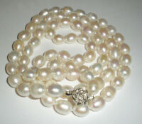 "NEW 8-9MM South Sea Baroque White Pearl Necklace 33"" Long"