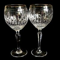 2 (Two) WATERFORD Marquis HANOVER GOLD Balloon Wine Glasses Signed DISCONTINUED