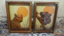 Vtg Wallace Berrie Pictures Diorama Koala Joey Lion 3D Art Work 1978 Set of 2