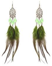 F2284 army green Feather bronze oval water drop bead cute dangle earrings hot