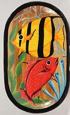 Mexican Wood Platter Folk Art Hand Painted/Tooled Collectible Decorative Fish