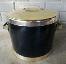 Vintage Mid Century Modern Retro Bar Black Brass Enamel Silver Ice Bucket Heavy