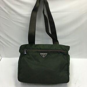 Auth Prada tote bag Nylon green From Japan 0825*57