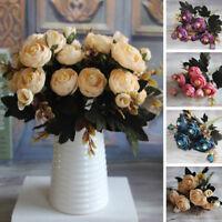 1 Bouquet Artificial Tea Rose Faux Silk Cloth Flowers Room Wedding Decor Nimble