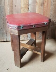 Vintage Wood & Leather (Rexine) Stool / Seat Stud Edging. Wooden Low Stool