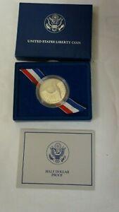 1986-D LIBERTY/ELLIS ISLAND BU COMMEMORATIVE PROOF HALF DOLLAR in MINT BOX wCOA