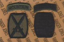 10th Mountain Infantry Division OD Green & Black BDU patch tab set m/e