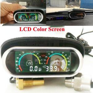 Car LCD Digital Color Screen Water Temperature Oil Pressure Gauge Panel w/Sensor