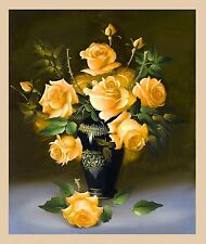 Cross Stitch Style YELLOW ROSES Diamond Painting Mosaic Kit 34x40cm