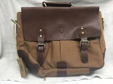 """14.5"""" Vintage Handmade Leather Canvas Messenger Bag   Multiple Compartments NWT"""
