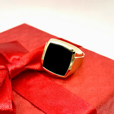 333 Gold Ring Herren Edelstein Schwarz #AL