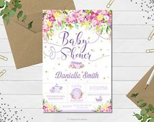 FLORAL BABY SHOWER PERSONALISED INVITATION INVITE CARD PURPLE VIOLET FLOWER GIRL