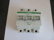 CRABTREE POLESTAR C63 63 AMP (63C/63) TRIPLE POLE MCB CIRCUIT BREAKER