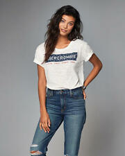 Abercrombie & Fitch T-Shirt Women's Americana Graphic Tee Top S Off White NWT