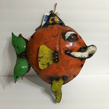 New listing Aaron Jackson Fish Metal Sculpture Art Yard Pool Indoor Handcrafted Recycled Nwt