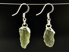 Earrings pair - 20cts #Ear302 Moldavite natural silver plated copper
