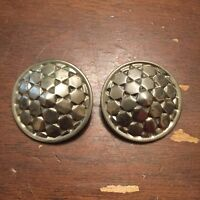 Vintage Large Silvertone Cubist Design Disc Clip On Earrings