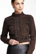 Kelly Wearstler Women's Clash Tar Blasted Coat Jacket Brown Sz Med