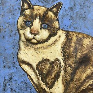 Tile Art Cat Handcrafted Pottery Framed Artist Signed Wall Decor Heart Kitten RH