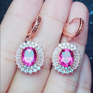Delicated 4.50Ct Oval Cut Red Ruby Drop & Dangle Earrings 14K Rose Gold Finish