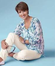 Damart Print Blouse White Size UK 18 rrp £35 DH077 QQ 08