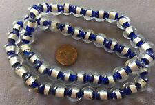 FIFTY (50) SILVER FOIL and  COBALT BLUE Lampwork Glass Beads 11MM