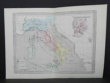Antique Maps, French Atlas, c. 1870, Hand Color, Italy - Ancient S11