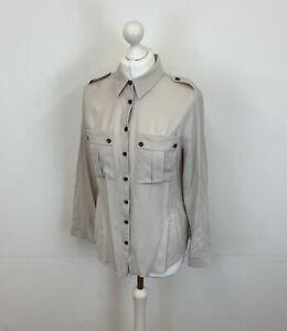 Mint Velvet Button Up Shirt Grey Sz 6 UK Ladies