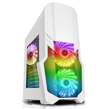 CiT G Force White RGB EDITION Mid Tower Gaming PC Case USB 3.0 2x 12cm LED Fans