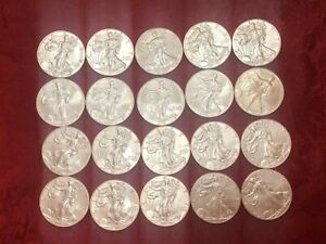 Roll of Silver Eagle One Dollar Coins 10-2016 5-2012 5-2017