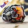 Turkish Handmade 925 Sterling Silver Amber Stone Scorpion Men's Ring All Sizes