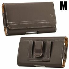 for SAMSUNG Phones - HORIZONTAL BROWN Leather Pouch Card Holder Belt Clip Case