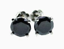 3.00 Ct Black Diamond Stud Earrings  14k White Gold Screw Back Top Quality