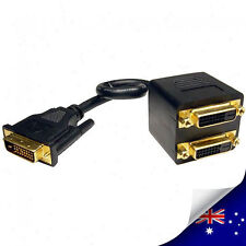DVI D Male to Dual 2 DVI-D Female Monitor TV Cable Splitter Adapter  NEW