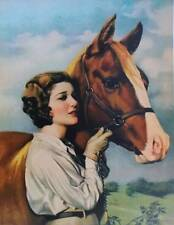 Lady with horse Vintage art by Adelaide Hiebel