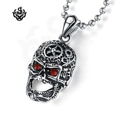 Silver pendant made with red swarovski crystal stainless steel skull necklace