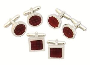 Sterling Silver Carnelian Cufflinks square round hexago