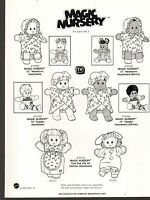 1990 VINTAGE AD SHEET #1395 -  MATTEL TOYS - MAGIC NURSERY DOLLS