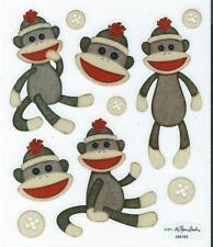 SOCK MONKEY Scrapbook Stickers