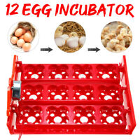 12 Eggs Automatic Incubator Tray Poultry Hatcher Chicken Duck Quail Bird Poultry
