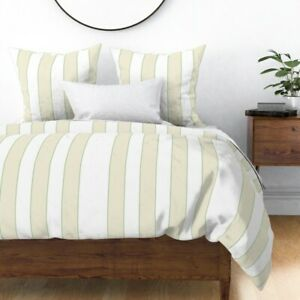 Neutral Stripe Solid Vertical Tan Green Beige Sateen Duvet Cover by Roostery