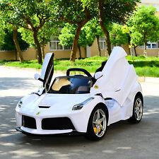 Ferrari 12V Kids Double Engine Ride On Car Electric Power Remote Control White