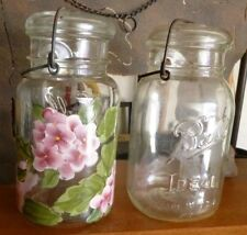 TWO-VINTAGE BALL QT MASON JAR W/ WIRE LID~ONE HAND PAINTED FLOWERS ON IT