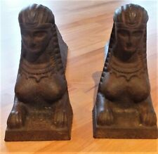 Vintage Antique French Egyptian Andirons Fire Dogs Cleopatra Nefertiti Ancient