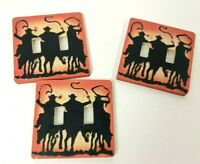 Vintage Ceramic Light Switch Covers Cowboys Riding Horses Lasso Country Western