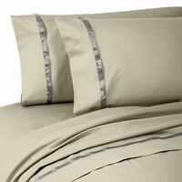 PAIR OF Waterford Linens Kiley 400 TC 100% Cotton Standard Pillowcases Taupe v15