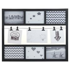 Black 9 Multi Picture Photo Frame Decoration Collage Wall Hanging Aperture Image