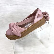 Puma X Fenty Rihanna Bow Creeper Sandals Pink Leather Size 7 New $139
