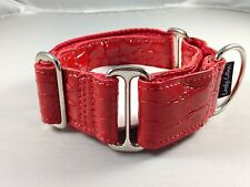 "1.5"" CROCO BRIGHT RED LEATHER GREYHOUND MARTINGALE DOG COLLAR"