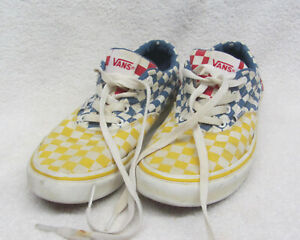 VANS Youth Size 5 Red ~ Blue ~ Yellow Checkerboard Sneakers Skateboard Shoes